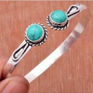 Turquoise Silver bangle 925 plated bracelet